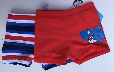 Baby Boys 2 pack Swim Trunks. 1 x Red with Shark + 1 x Striped  9-12 mths