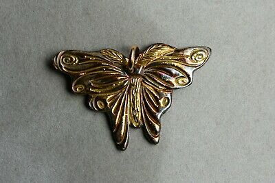 Butterfly Pendant in Fine Silver with 22K Gold and Patina