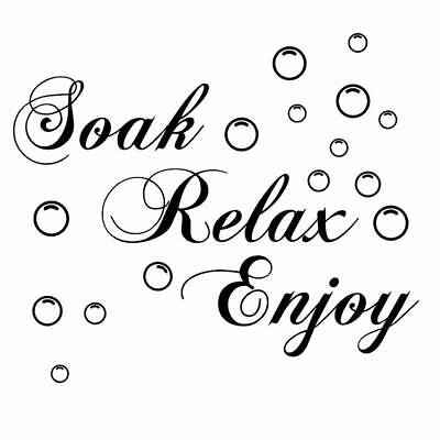 g E5N5 SOAK RELAX ENJOY Bathroom Wall Art Sticker PVC Decal Home Art Decoration