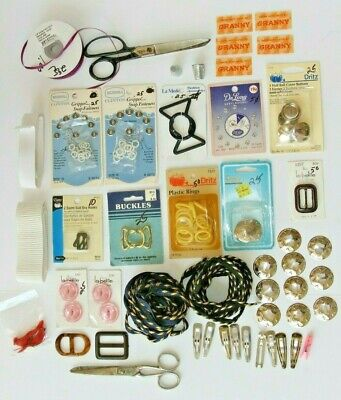 Vintage Sewing Notions Lot Belt Buckles Buttons Thimble Scissors Trim Labels