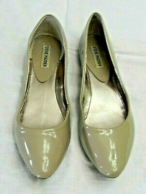 b7a8c33a4 Steve Madden Womens Shoes Ibiza Pointed Toe Ballet Flats Patent Taupe Size 9