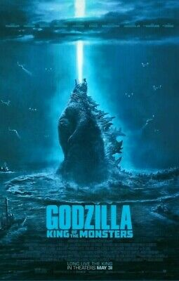 GODZILLA KING OF THE MONSTERS 27x40 Original DS Theater Poster + 3x MOTHRA ROD