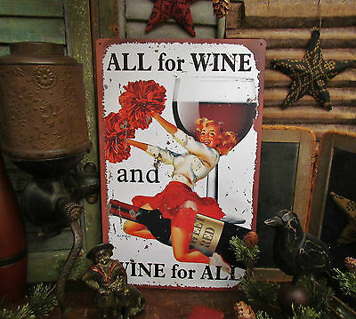 Primitive Antique Vtg Style Hot Pin Up Girl Cheer Leader Red Wine Metal Tin Sign