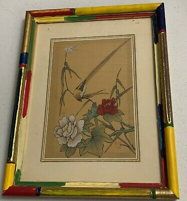 Vintage Hand Painted Oriental Chinese Scroll Art Bird Leaves Plant Signed Floral