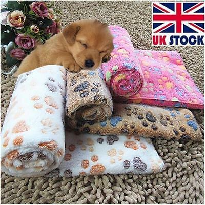 Pet Dog Puppy Cat Pig Paw Print Fleece Small Large Warm Soft Blanket Beds