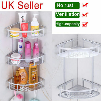 2/3 Tier Bathroom Corner Shower Shelf Rack Organiser Bath Accessory Sets