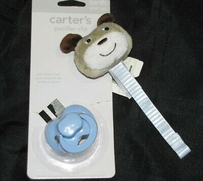 Carters Stuffed Plush Puppy Dog Pacifier Clip Tan Brown Baby Infant NEW