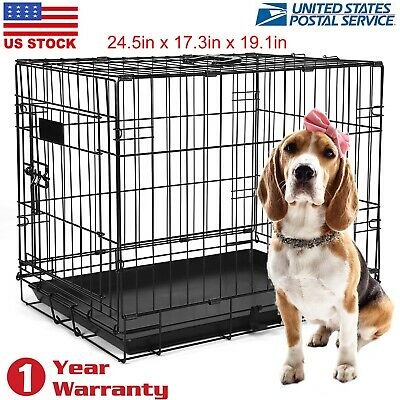 Pet Cage 24 Inch Cat Dog Animal Crate Home Folding Metal 2 Door Training Kennel