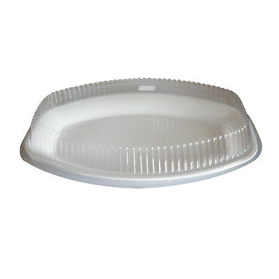 """10x Deluxe Disposable Platter w Cover Oval 20""""/50cm White Party Catering Tray"""