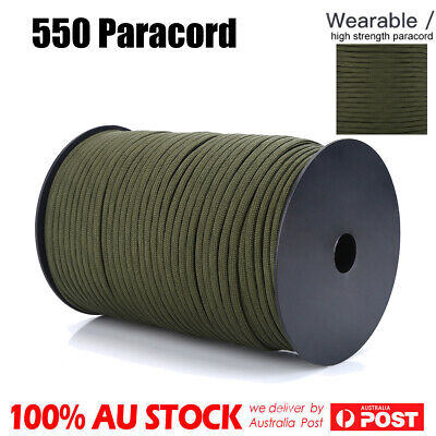 330ft 100m 550 Paracord Parachute Cord Rope Lanyard 9 Strand Core Survival Green