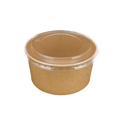 50x Kraft Large Food Bowl 150x128x78mm/1000ml w Clear Lid Disposable Container