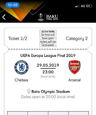 UEFA Europa League Final 2019 Baku Category 2 Ticket X 2 Chelsea v Arsenal