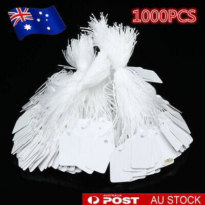1000Pcs Price Tags White Marking Label Paper String Swing Jewellery Retail Store
