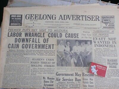 """1955 Geelong Advertiser  newspaper, Cain Labor Govt. Could Fall"""""""