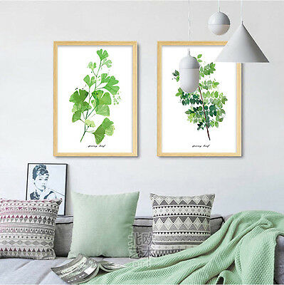Watercolor Plants Leaves Poster Minimalism Wall Art Canvas Prints Home Decor