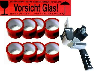 1 Packbandroller+6x V48 66m Rolls Vorsicht Glass Red Adhesive Tapes Package Band