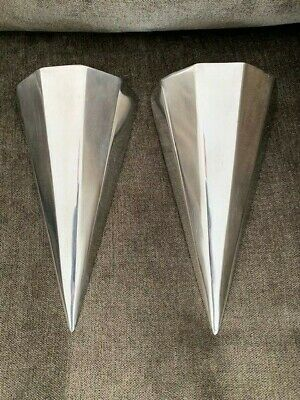 Pair of Vintage Wall Pockets Art Deco Silver Metal 5 Paneled