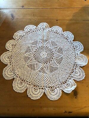 "Brand New 100% Cotton Round White 16""-Wide Made In India Placemat"