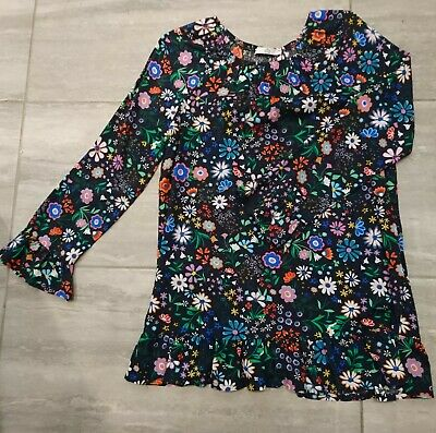M & S Kids Girls Tunic age 10 11 Navy floral Tunic top dress worn once
