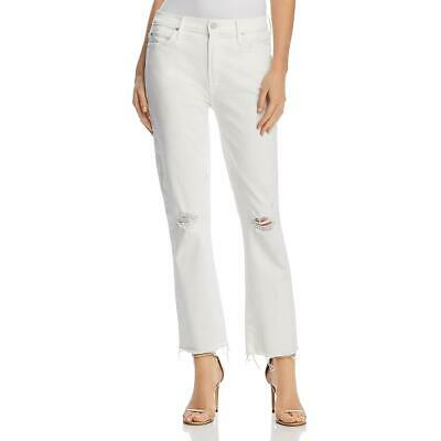 79a7de84e041 Mother Womens Rascal White Distressed Mid-Rise Denim Ankle Jeans 24 BHFO  1442