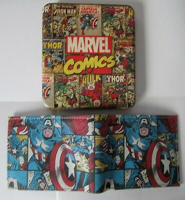 Captain America GENUINE LEATHER Slim-Fold Wallet & Collector Tin Marvel New 0075