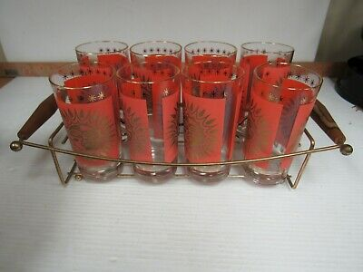 Vintage Mid-Century MCM Orange Gold Sun Star Tumblers Glasses Set  8 Tray 4798C