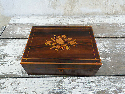 Antique Victorian old French Palissandre inlay wood marquetry trinket box case