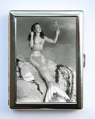 50s pinup pin up Mermaid Cigarette Case Wallet Business Card Holder retro