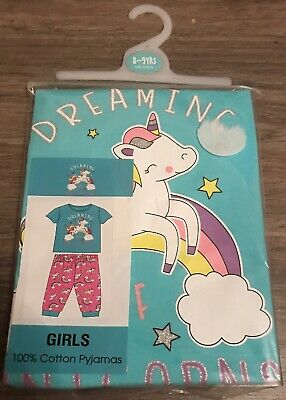 Girls Unicorn Pyjamas Pjs Age 8-9 Years Gift Present Short Sleeved Summer