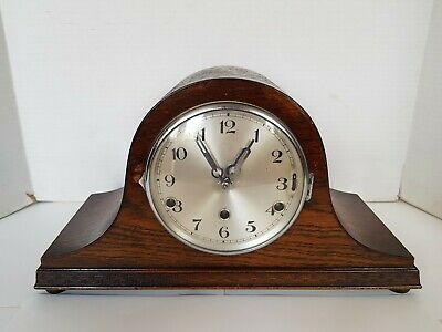 Large Oak Cased Napoleon Mantel Clock With Key and Pendulum.