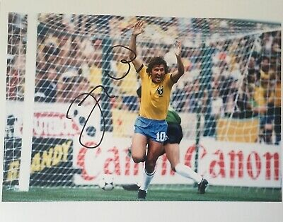 Zico signed 10x8 Brazil photo Image A UACC AFTAL registered dealer COA RACC