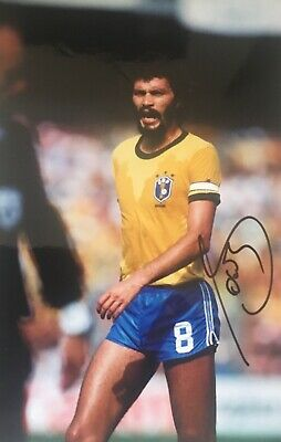 Socrates signed 12x8 Brazil photo Image A UACC AFTAL registered dealer COA RACC