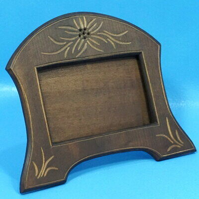 3x5 Antique Swiss Black Forest Carved TABLE PHOTO FRAME Edelweiss Brienz c1920