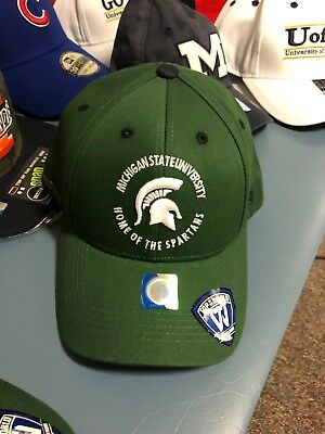 buy popular 22278 9e439 Michigan State Spartans Hat Cap Mens NEW Green One Size SnapBack MSU Sparty  S