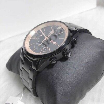 New Genuine Hugo Boss Hb1513578 Grand Prix Gq Steel Black Chrono Mens Watch