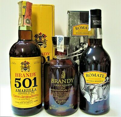 1+1+1 BRANDY ♦ 501 AMARILLA ♦ CRUZ CONDE ♦ ROMATE ♦ 70cl, + 2 Box