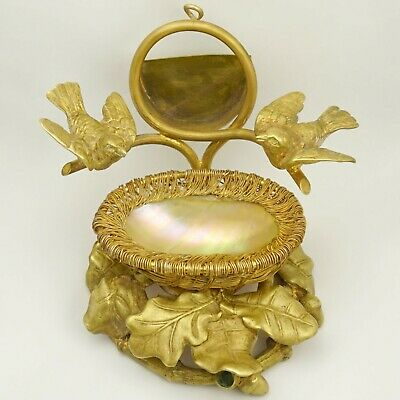 Antique Victorian Pocket Watch Holder Figural Stand, Birds, Mother of Pearl Egg