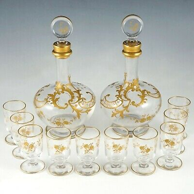 Antique French Glass Liquor Set Raised Gold Enamel Decanters Cordial Goblet Cups