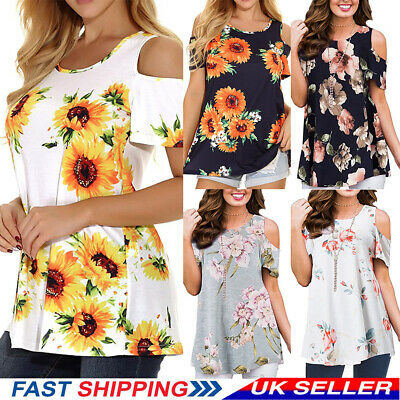 Womens Cold Shoulder T-Shirt Summer Holiday Ladies Casual Tops Blouse Plus Size