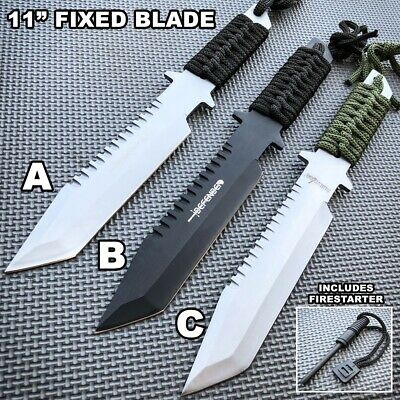 """11"""" Hunting Tactical Fixed Blade Survival Camping Knife w/ Sheath + Fire Starter"""