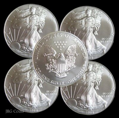 5 x 2019 American Eagle 1oz Silver Dollar Bullion Coin