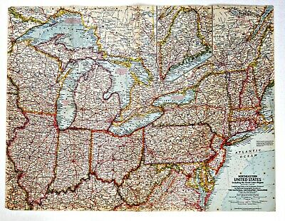 ⫸ 1959-4 Vintage Original Map Northeastern USA Great Lakes – National Geographic