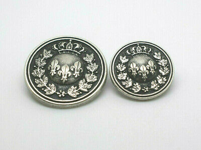 CLASSIC COAT OF ARMS ANTIQUE SILVER METAL ITALIAN BUTTONS C2112 JACKET COAT