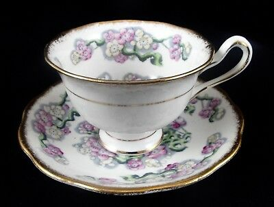 Royal Albert MAY BLOSSOM Bone China Cup and Saucer White/Flowers/Gold 1940's