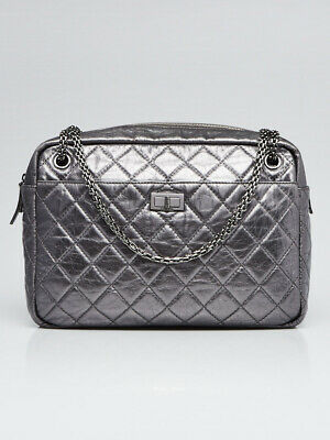 6afa6e2e174954 Chanel Silver Metallic Quilted Calfskin Leather Large Reissue Camera Case  Bag