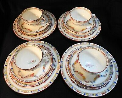 LOT of 4 Sets of Antique China Mintons Rose Floral Tea Cup Service 16 Pieces