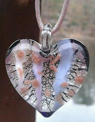 Authentic Italian Murano Glass Heart Pendant from Italy Hand Made Blown NEW