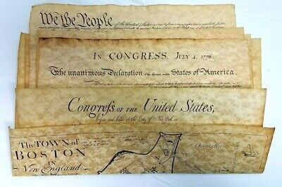 Historic Document Replicas Set of 4 Constitution, Bill of Rights, Declaration