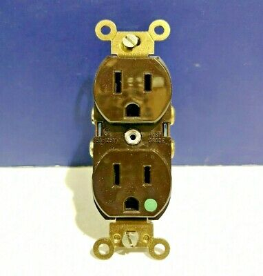 NEW Leviton BROWN 15A 125V 2-Pole 3-Wire Duplex Receptacle Hospital Grade 8200-B