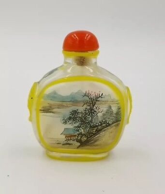 Chinese Glass Hand Painted Scene Inside Snuff Bottle Carved Sides   19